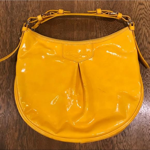 Dooney & Bourke Handbags - Dooney & Bourke Mustard Yellow Patent Leather Hobo